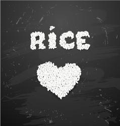 Bowl of white rice on blackboard vector image