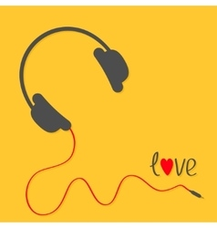 Headphones with red cord love card black text vector