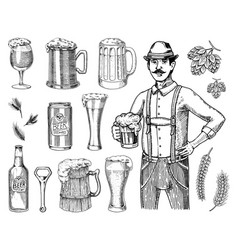 a man in traditional belgian or bavarian clothes vector image vector image