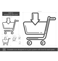 add to shopping cart line icon vector image