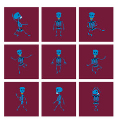 Assembly flat skeleton halloween vector