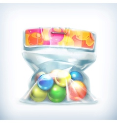 Balls in small plastic bag icon vector image vector image