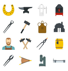 Blacksmith icons set in flat style vector