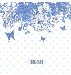 Blue Spring and Summer Floral Bouquet for vector image vector image