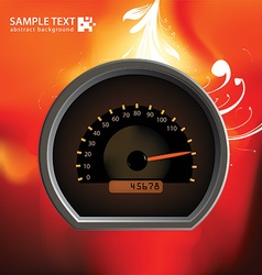 Car speedometer with flaming background vector
