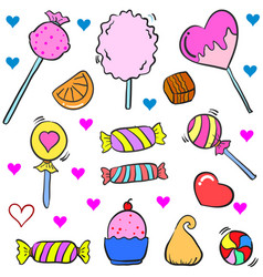 Collection stock of candy various doodle style vector