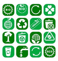 color environmental icon set vector image vector image