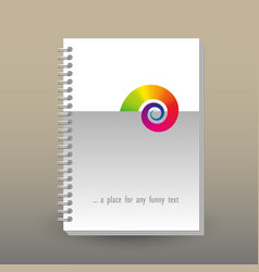 Cover of diary or notebook with rainbow snail vector