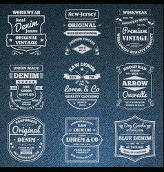 Denim jeans typography logo emblems set vector