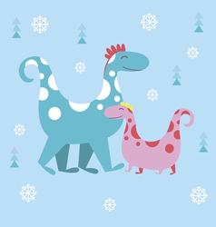 Dino winter characters vector