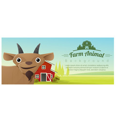 Farm animal and rural landscape with goat vector