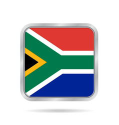 Flag of south africa metallic gray square button vector