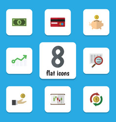 Flat icon gain set of hand with coin diagram vector