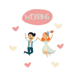Groom and bride dancing isolated vector