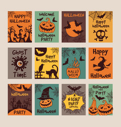 halloween party invitation cards with different vector image vector image