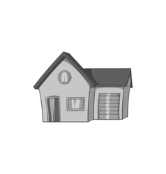 House with garage icon black monochrome style vector image vector image