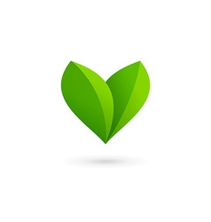 Letter v heart eco leaves logo icon design vector
