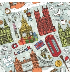 London winter landmarks seamless patterncolored vector