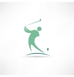 man playing golf icon vector image vector image