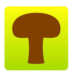 Mushroom simple sign brown icon at green vector
