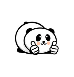Ok logo funny little cute panda showing gesture vector