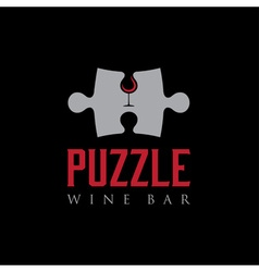 Puzzle wine bar negative space concept vector