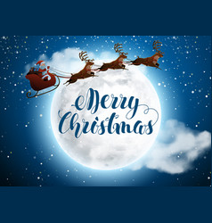 santa claus on deer riding on sleigh with vector image