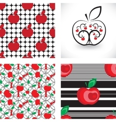 Seamless apple background pattern collection vector