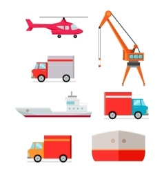 Set of transports for worldwide goods delivering vector