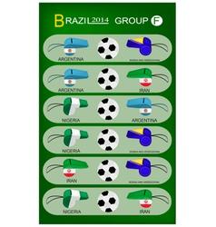 Soccer Tournament of Brazil 2014 Group F vector image