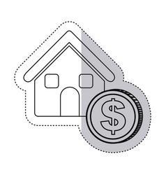 Sticker monochrome contour house with icon coin vector