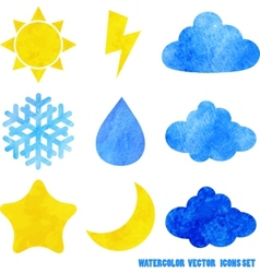 Watercolor weather icons vector