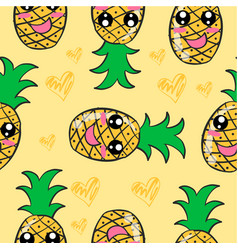 yellow fruit doodle style collection vector image vector image