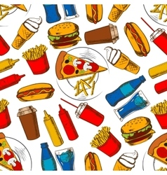 Fast food lunch seamless pattern background vector
