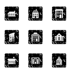 Dwelling icons set grunge style vector