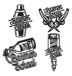 Color vintage barmen school emblems vector