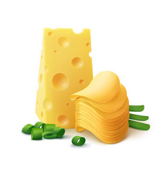 Potato chips stack with cheese and onion vector