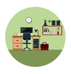 office work space with desh chair cabinet book vector image