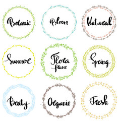 Nature frames decorative elements with lettering vector