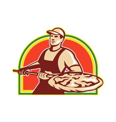 Baker holding peel with pizza pie retro vector