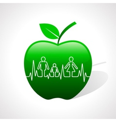 Heartbeat make family icon inside the apple vector