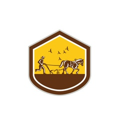 Farmer and horse plowing field shield retro vector