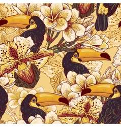 Tropical seamless parrern with flowers and Toucan vector image