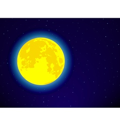 Full moon on night sky vector