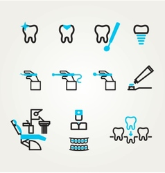 Dental icons reflection theme vector image