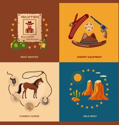 Cowboy icons flat vector image