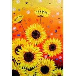 Sunflowers acrylic painting verson vector