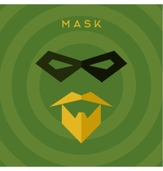 Black mask beard mustache superhero green vector