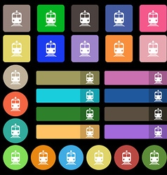 Train icon sign set from twenty seven multicolored vector