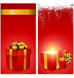 Red gift box banners vector